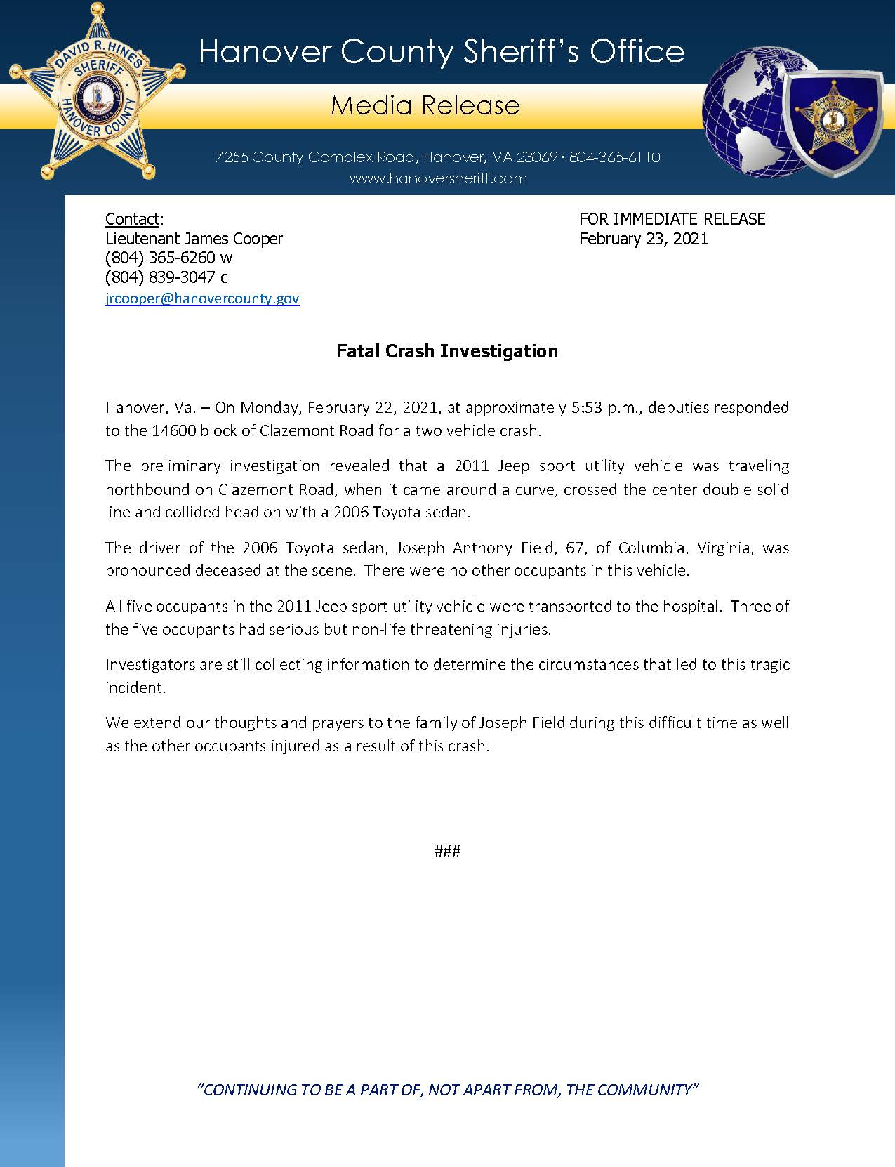 HCSO Media Release - Fatal Crash Investigation 2.23.21