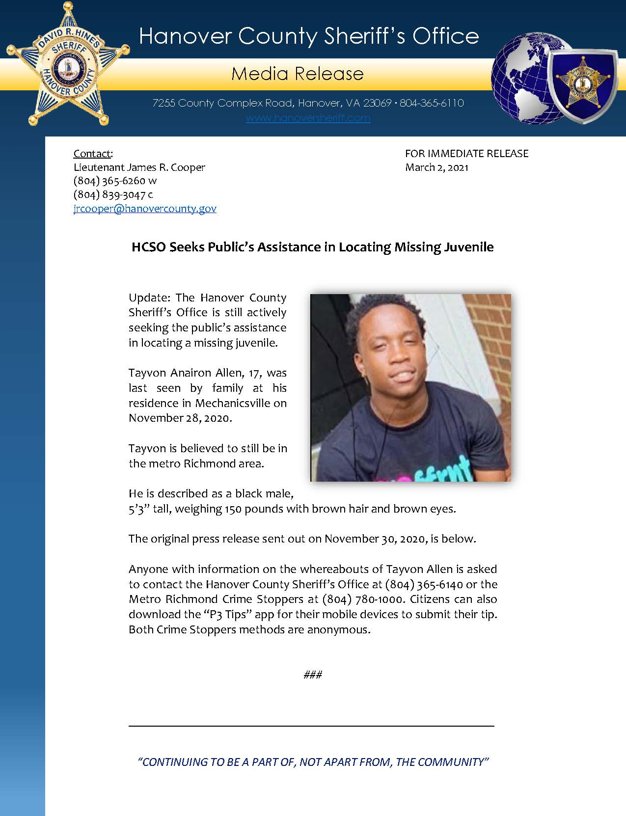 HCSO Media Release - UPDATE HCSO Seeks Publics Assistance in Locating Missing Juvenile 3.2.21 Page1