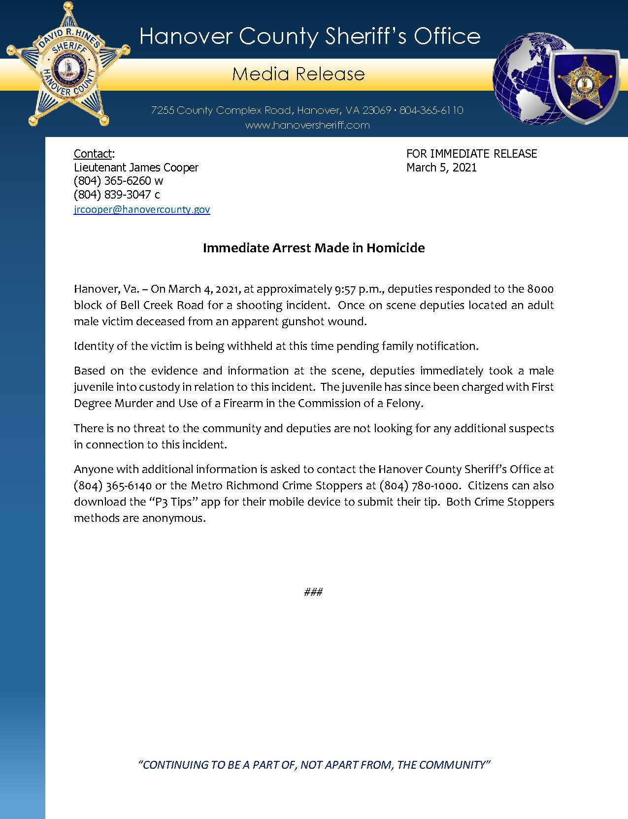 HCSO Media Release - Immediate Arrest Made in Homicide 3.5.21