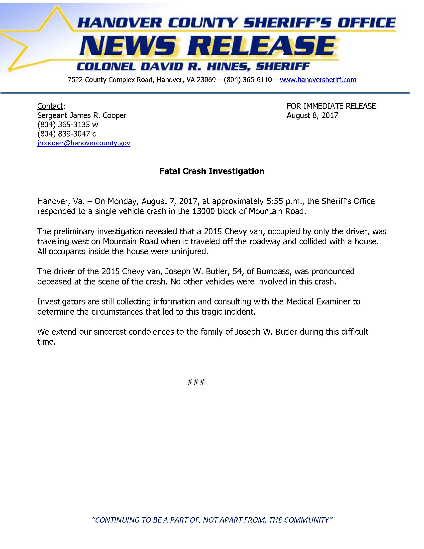 HCSO - Fatal Crash - Mountain Road- August 2017