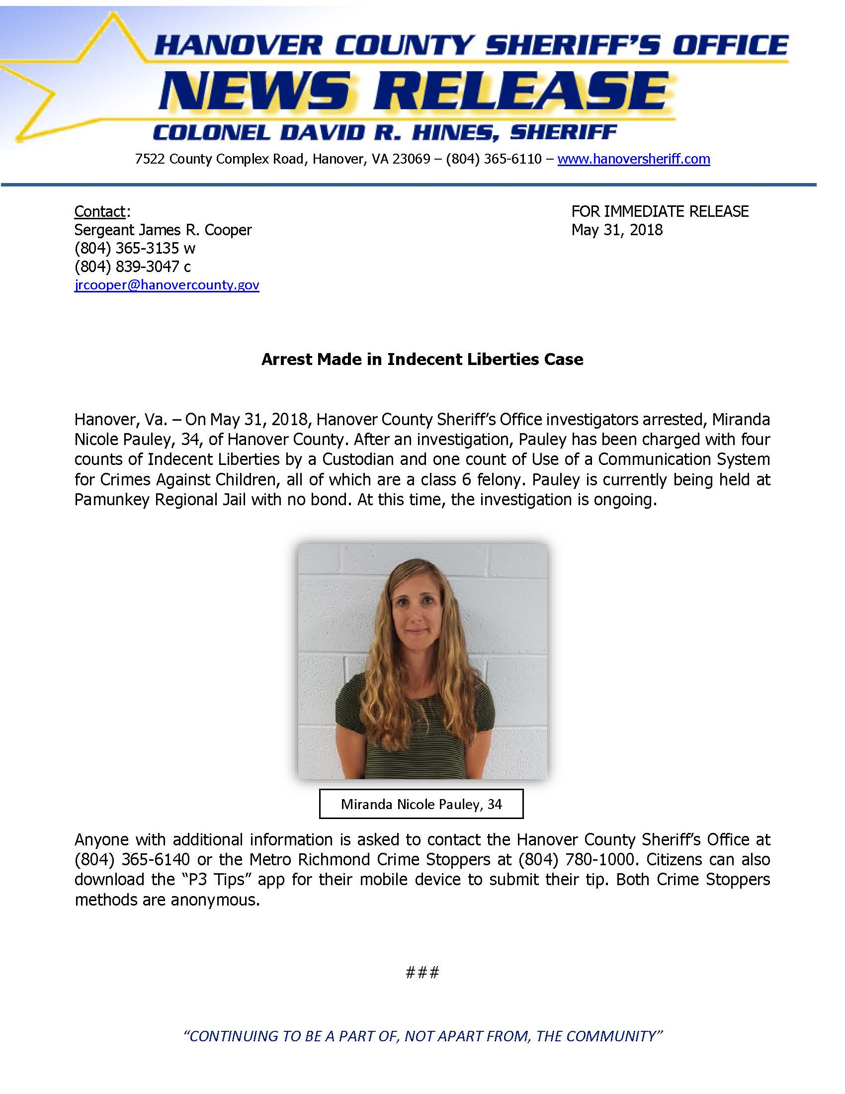HCSO - Arrest Made in Indecent Liberties Case- May 31, 2018