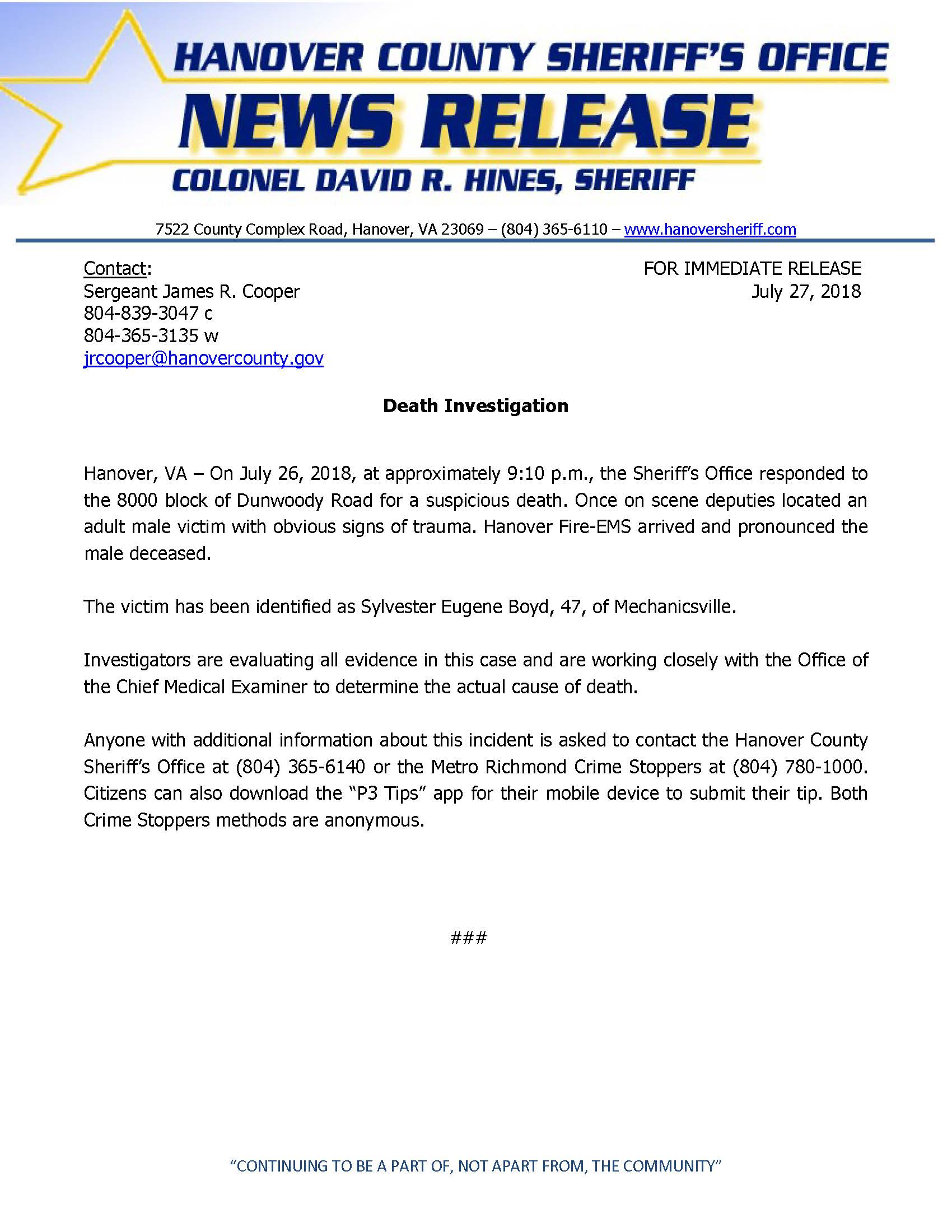 HCSO - Death Investigation_Dunwoody Road- July 27, 2018