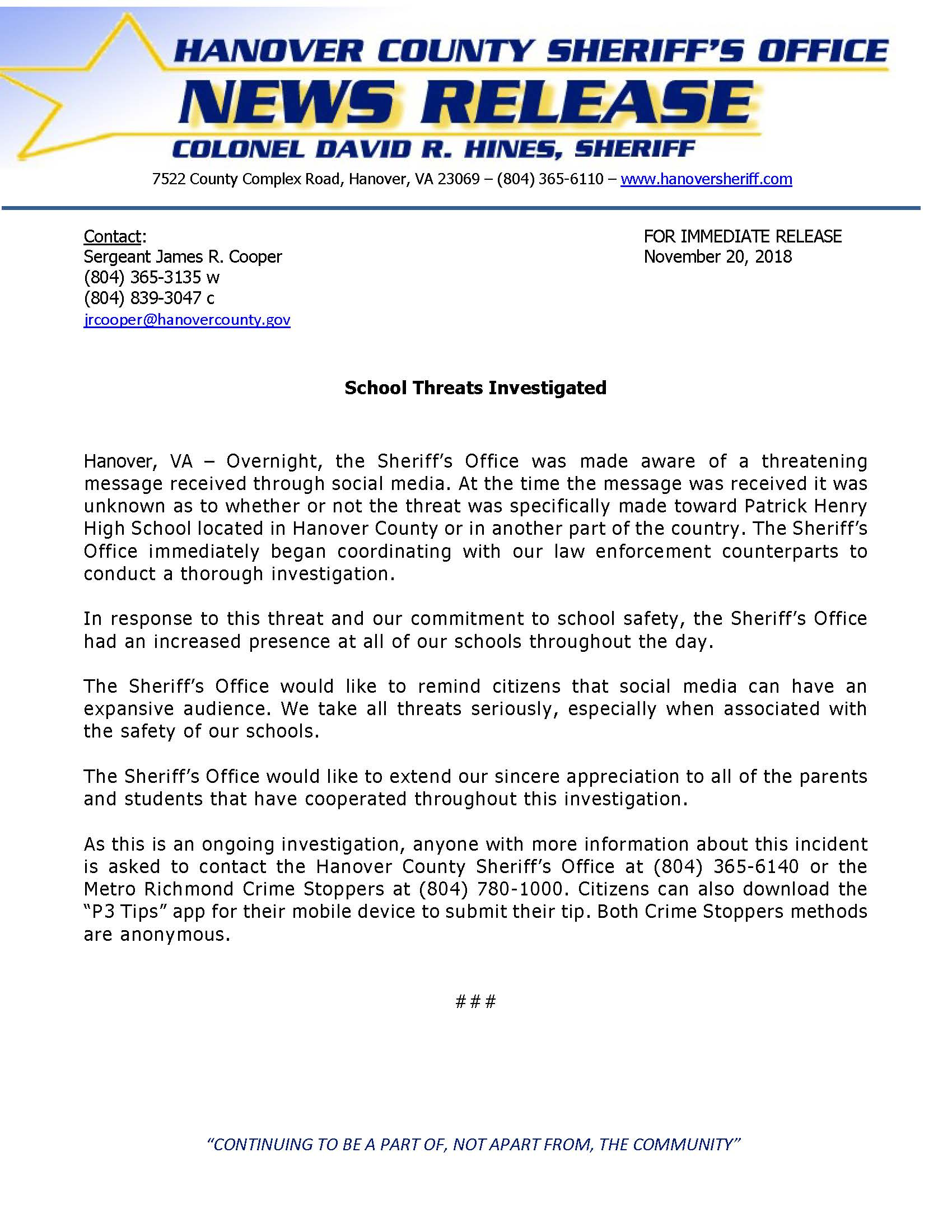 HCSO - School Threats Investigated- November 20, 2018