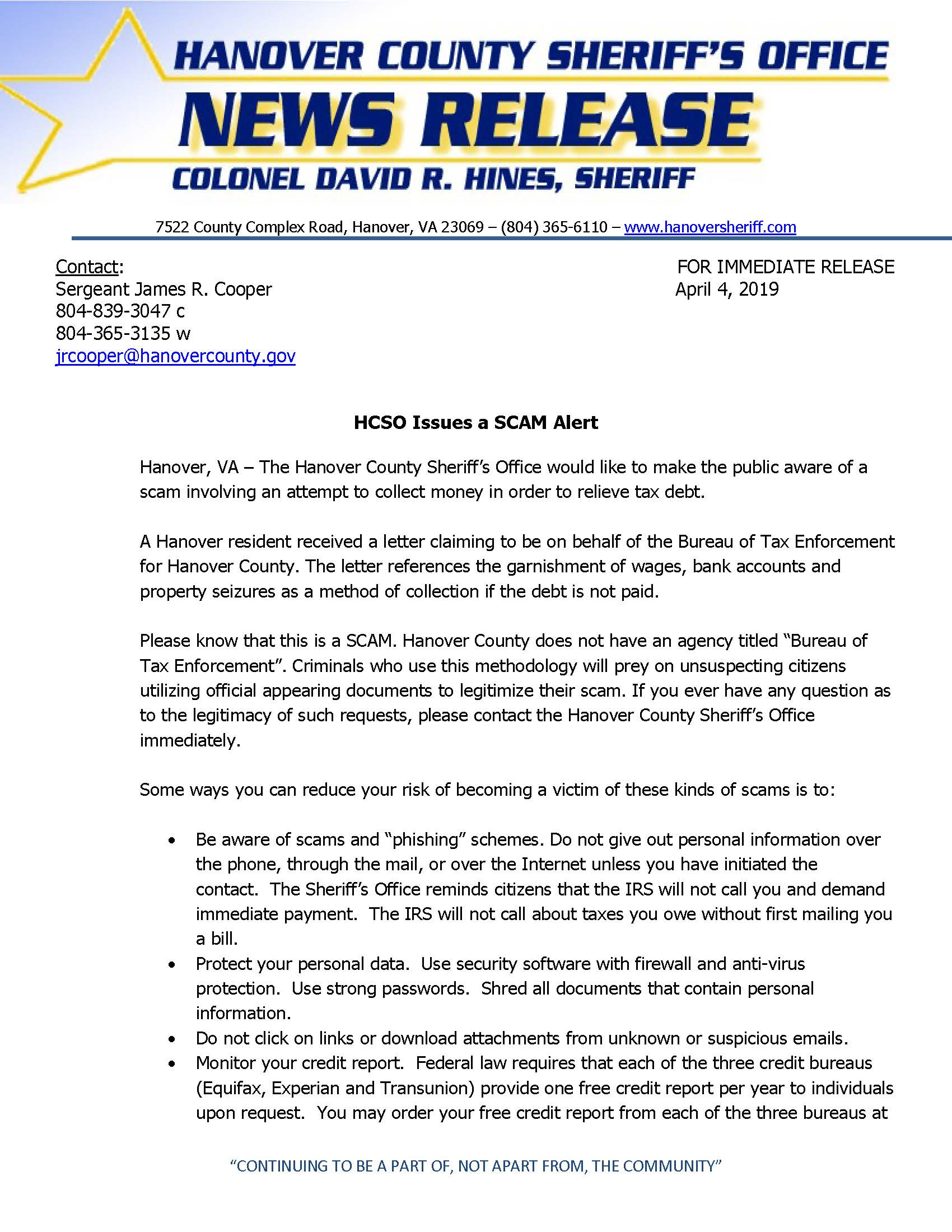 HCSO - HCSO Issues SCAM Alert- April 4 2018_Page_1